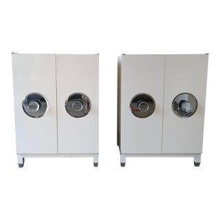 Mid-Century Modern Custom White Cabinets - a Pair For Sale