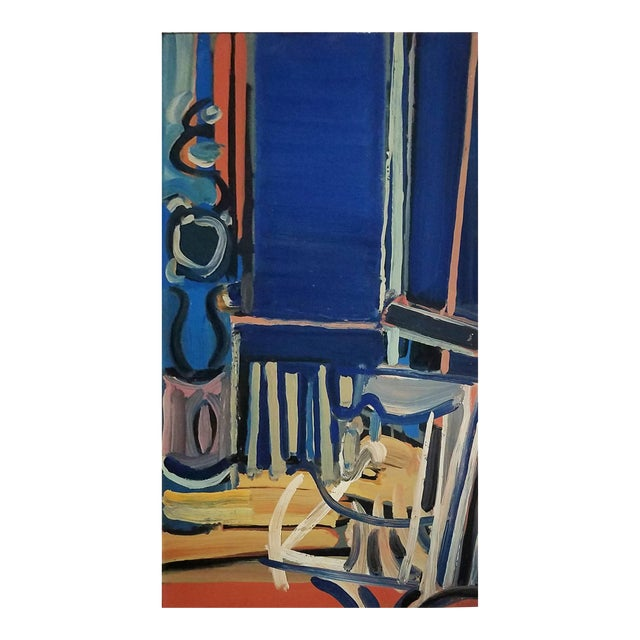 20th Century Dark Blue Abstract Still Life Painting by Daniel Clesse For Sale