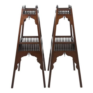 Antique English Regency Mahogany and Ebonized Wood Etageres For Sale