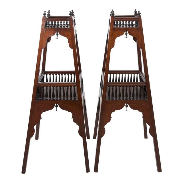 Antique English Regency Mahogany and Ebonized Wood Etageres For Sale