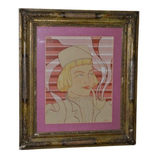 1920s Pop-Art Deco Watercolor Portrait For Sale