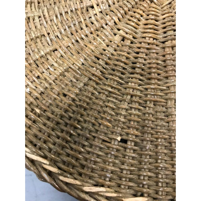"""Tan Vintage Wicker Trompe l'Oeil """"Draped"""" Table For Sale - Image 8 of 12"""