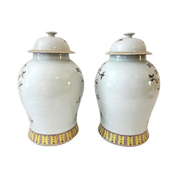 Famille Rose Ginger W/ Ducks Jars, S/2 For Sale - Image 4 of 7
