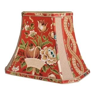 Vintage Dark Orange Traditional Floral Fabric Lamp Shade For Sale