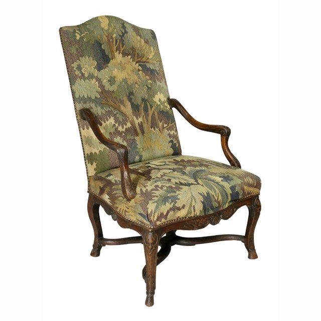 Regency Walnut and Tapestry Armchair For Sale - Image 12 of 12