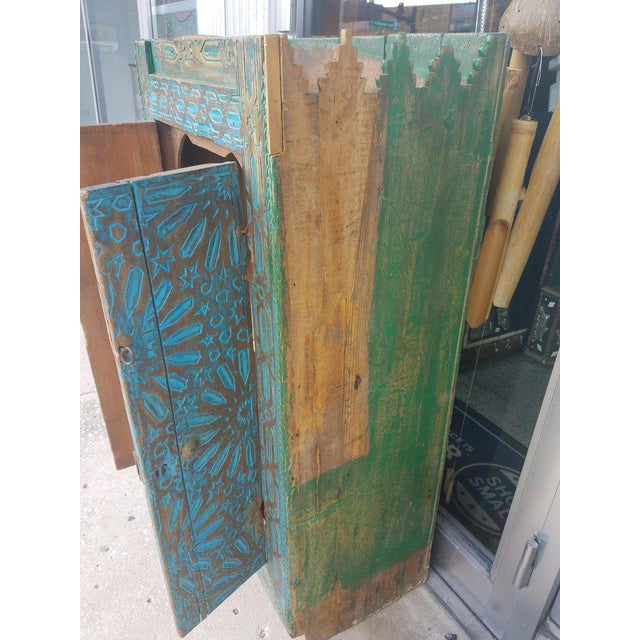 Antique Moroccan Turquoise Wooden Cabinet For Sale - Image 4 of 7