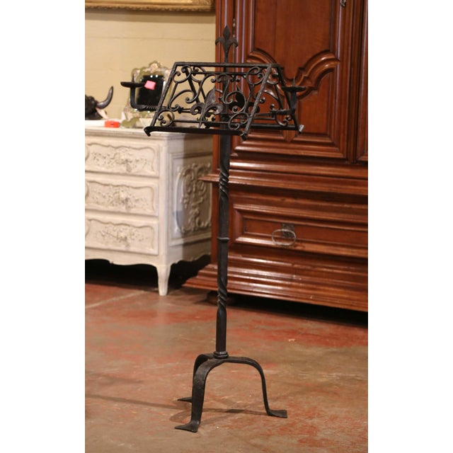 Black 19th Century French Two-Side Forged Iron Music Stand Lectern With Fleur-De-Lys For Sale - Image 8 of 8