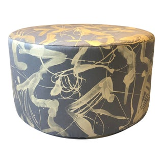 Featured in The 2020 San Francisco Decorator Showcase — Hand Painted Upholstery Round Ottoman For Sale