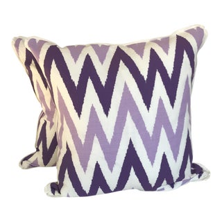 Quadrille China Seas Purple Zig Zag Pillows - A Pair