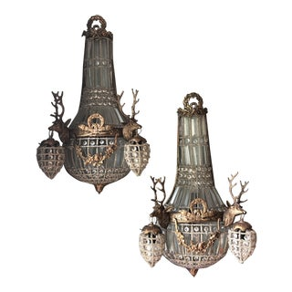 8 Lights Crystal Deer Head Stag Chalet Sconces - a Pair For Sale