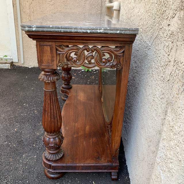 Late 19th Century Victorian Entry Table Console With Marble Top For Sale In Los Angeles - Image 6 of 11