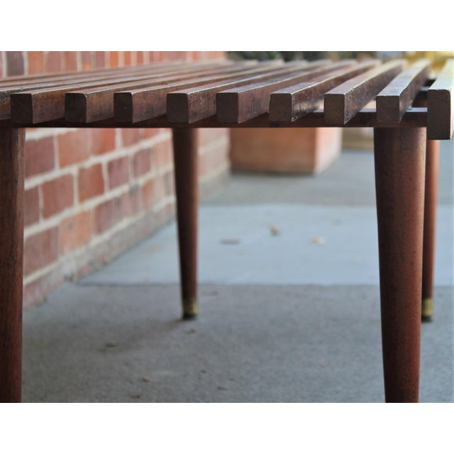 Brown Mid-Century Modern Walnut Slat Bench/Coffee Table For Sale - Image 8 of 11