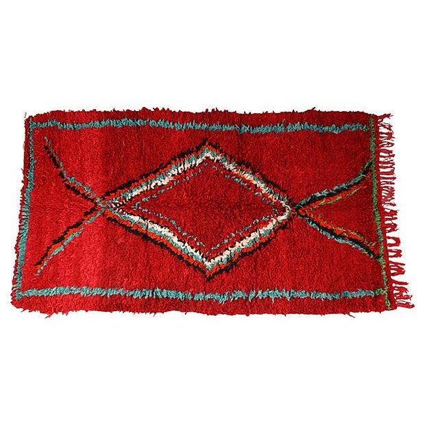 Red Moroccan Azilal Rug, 6'6'' X 3'8'' - Image 1 of 3