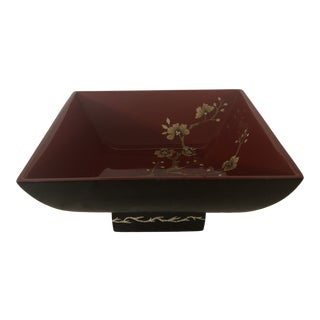 Bombay Co. Black and Red Lacquered Dogwood Pattern Bowl For Sale