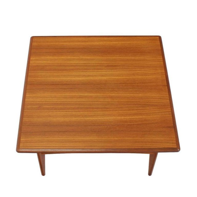 Brown Danish Mid-Century Modern Teak Square Coffee Side Table For Sale - Image 8 of 8