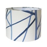 Image of Blue Channels Drum Lamp Shade For Sale