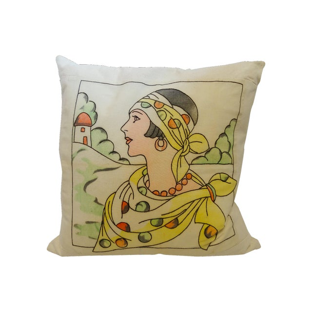 Art Deco Embroidered Pillow - Image 1 of 3