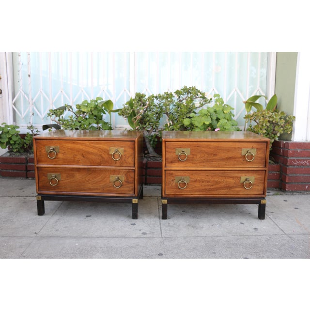 1970s Mid-Century Modern Henredon Nightstands with Brass Accent - a Pair For Sale - Image 12 of 12
