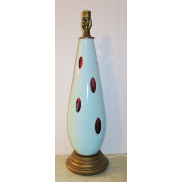 1970s Mid-Century Modern Pale Blue Cut Murano Glass Lamp For Sale - Image 9 of 9