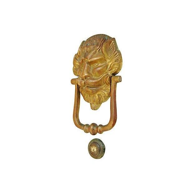 Vintage Lion Door Knocker & Strike Button - Image 5 of 8