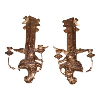 1920s Antique Continental Giltwood Sconces - a Pair For Sale