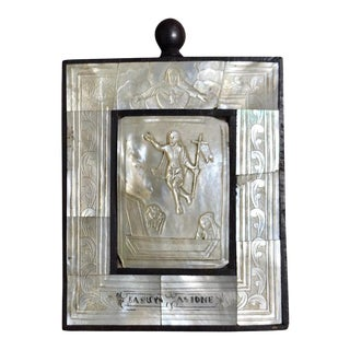 "Antique Mother of Pearl Icon ""Lasur Asione"" For Sale"