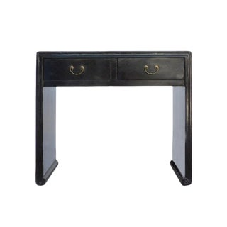 Chinese Oriental Black Lacquer Two Drawers Side Table