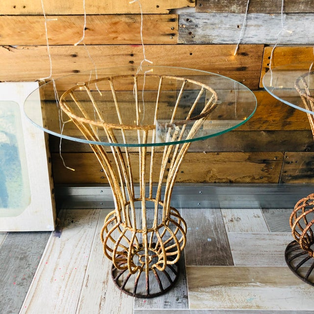 Metal Mid-Century Wrought Iron End Tables - A Pair For Sale - Image 7 of 9