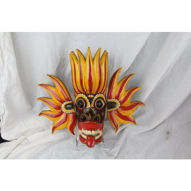 Orange Vintage Asian Dragon Mask For Sale - Image 8 of 8