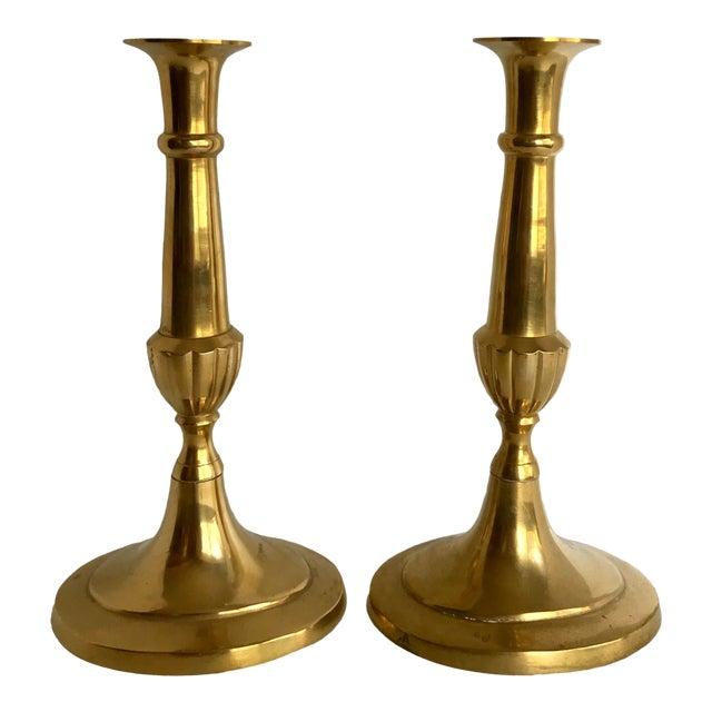 Classic Brass Candle Holders - a Pair For Sale