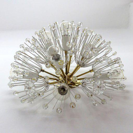 1950s Emil Stejnar Austrian Crystal Flush Mount Light for Nikoll For Sale - Image 5 of 10