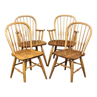 1950s Dinaire Tiger Oak Tobacco Finish Spindle Back Dining Chairs- Set of 4 For Sale