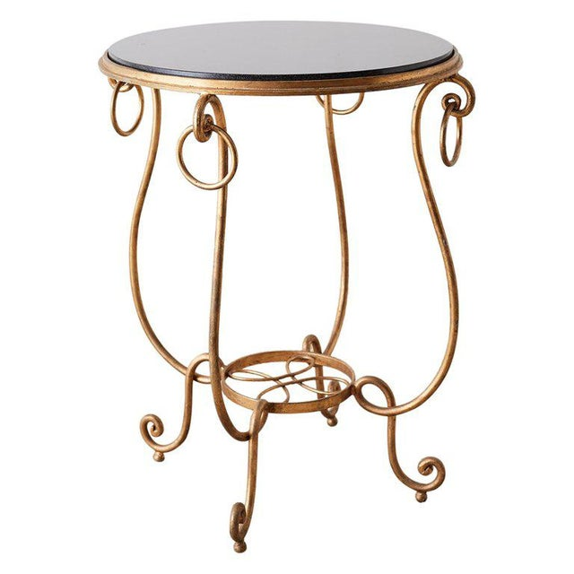 Rene Drouet Style Gilded Iron and Granite Table For Sale - Image 13 of 13