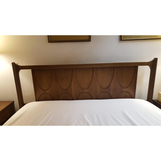 Vintage Walnut Broyhill Brasilia Full/Queen Headboard For Sale - Image 5 of 10