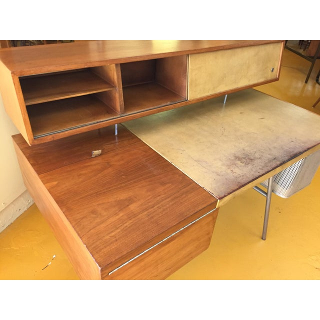 George Nelson for Herman Miller Walnut, Steel and Leather Mid Century Desk For Sale - Image 10 of 12
