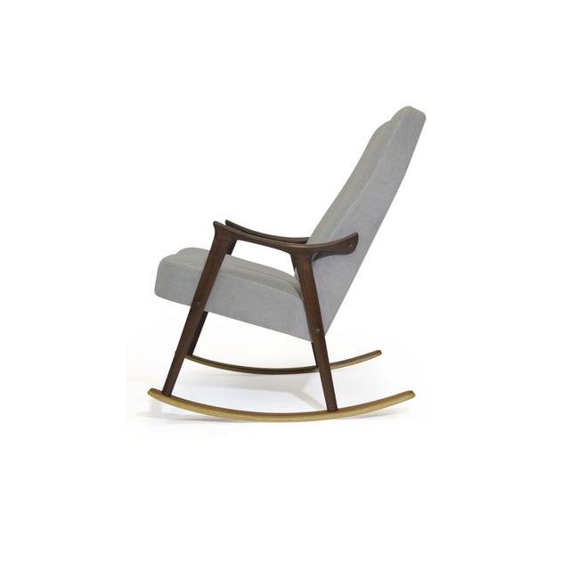 Danish Modern Scandinavian Highback Rocking Chair in Alpaca Mohair For Sale - Image 3 of 10