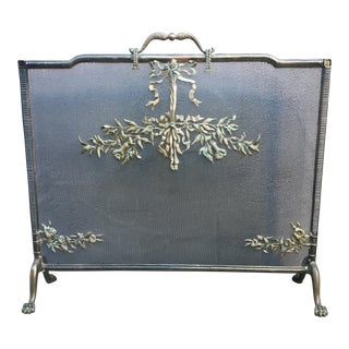 19th Century French Neoclassical Bronze Fire Screen For Sale