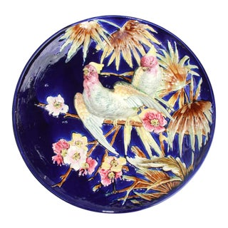 French Majolica Trompe l'Oeil Charger Parrots on Cobalt Blue Ground, 1880 For Sale