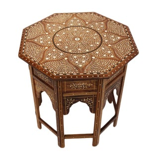 Bone Inlay Octagonal Side Table For Sale