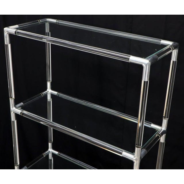 Lucite and Aluminum Mid-Century Modern 5-Tier Etagere Vitrine Shelving Unit For Sale - Image 12 of 13
