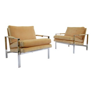 C.1970s Mid-Century Milo Baughman for Thayer Coggin Flat Bar Chrome Lounge Chairs -A Pair For Sale