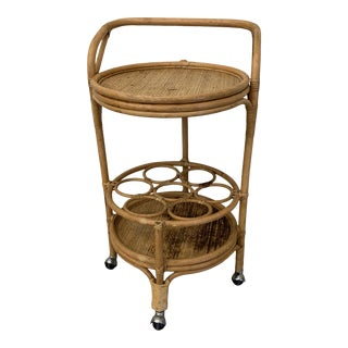 Vintage Bamboo Bar Cart on Casters For Sale