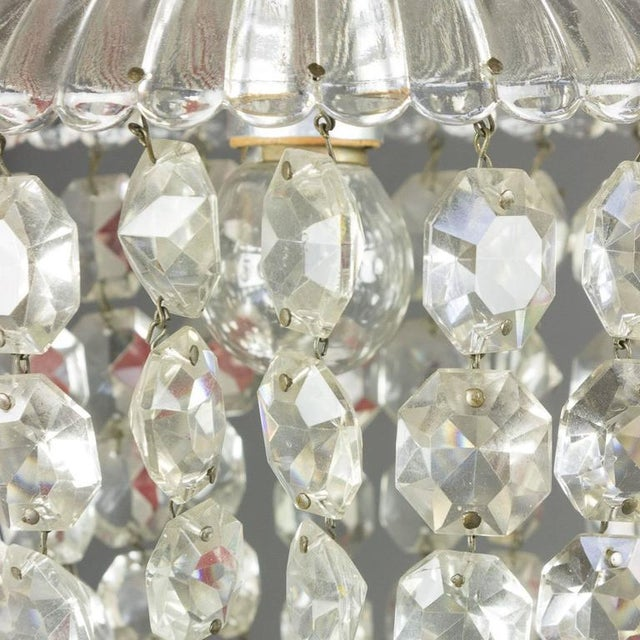 1940s French Crystal and Glass Pendant Ceiling Fixture - Image 5 of 11