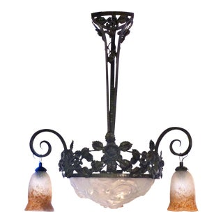 French Art Deco Iron Chandelier
