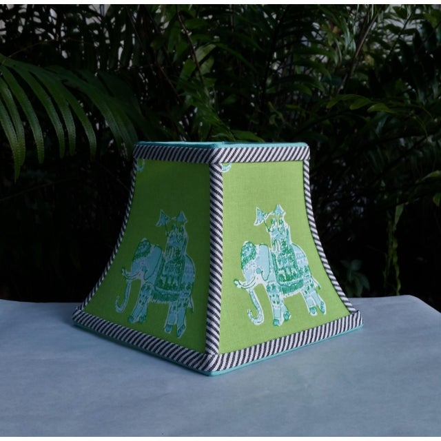 Metal Green Lilly Pulitzer Fabric Clip on Coastal Elephant Lampshade For Sale - Image 7 of 11
