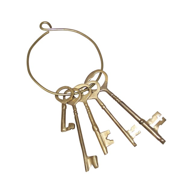Vintage Ring of Brass Jailhouse Style Keys - Image 1 of 7