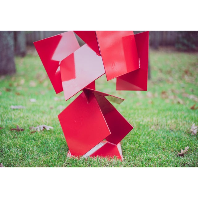 """Metal Modern Abstract Balanced Gravity """"Sotto"""" Red Steel Sculpture For Sale - Image 7 of 11"""
