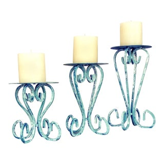 Rustic Iron Candle Stands - Set of 3