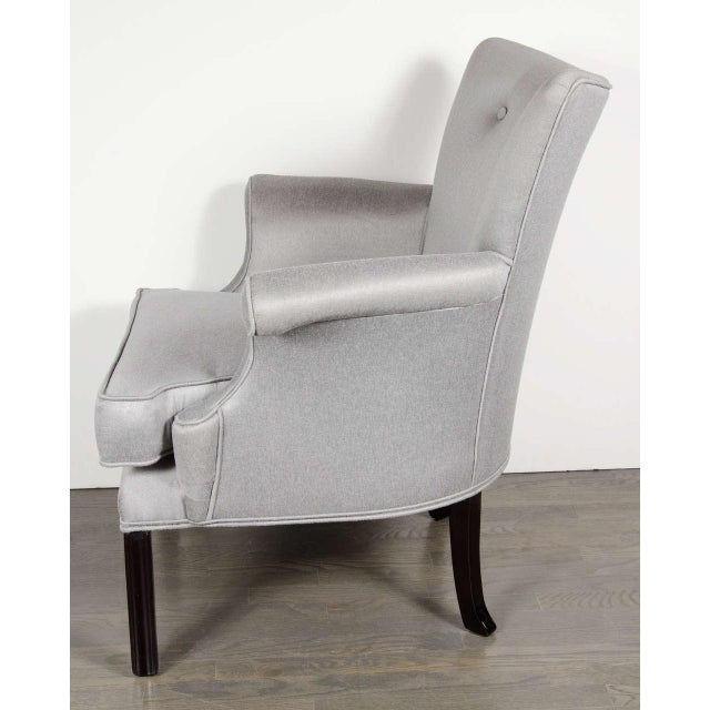 1940s Glamourous Pair of Hollywood Scrolled Arm Chairs with Button Back Detailing For Sale - Image 5 of 7