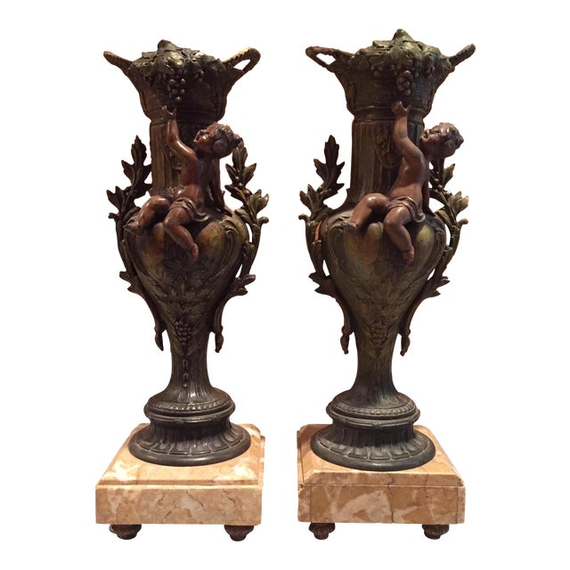 Pair of Cast Metal and Marble Urns - Set of 2 - Image 1 of 7